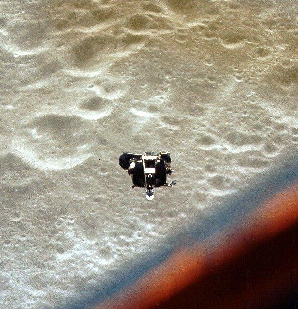 Apollo 10 lunar module seen against lunar surface from command module