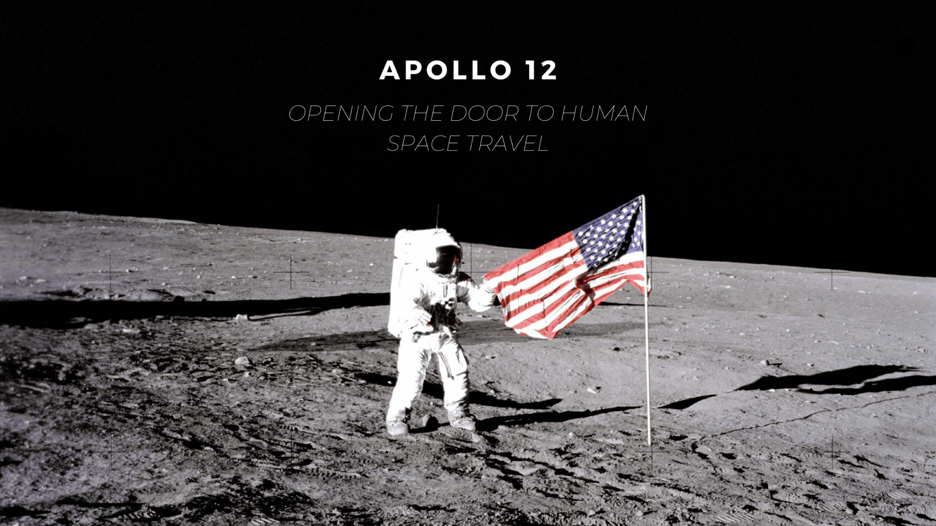 Astronaut Conrad with American flag on Moon surface