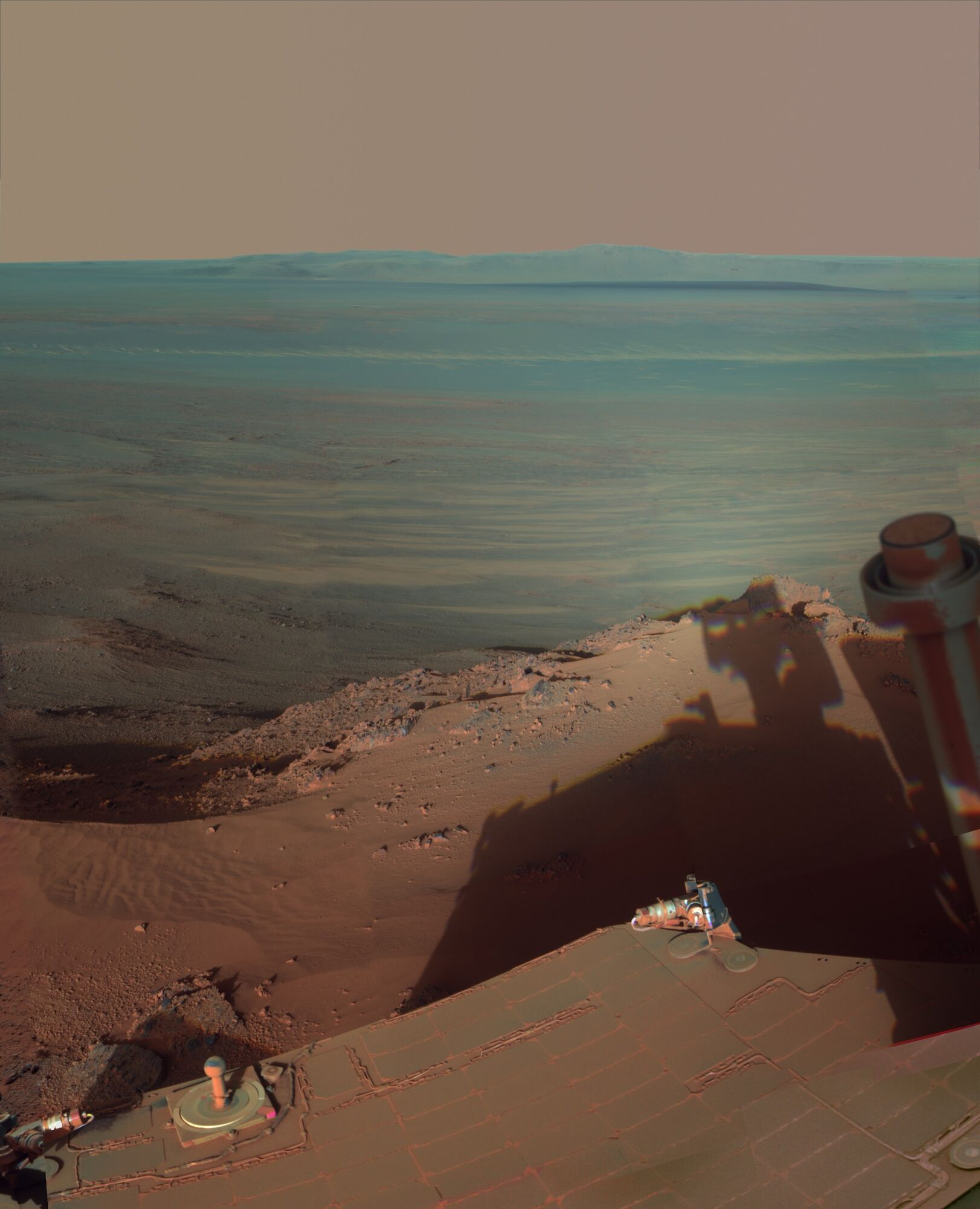 Shadow of Opportunity on Endeavour Crater