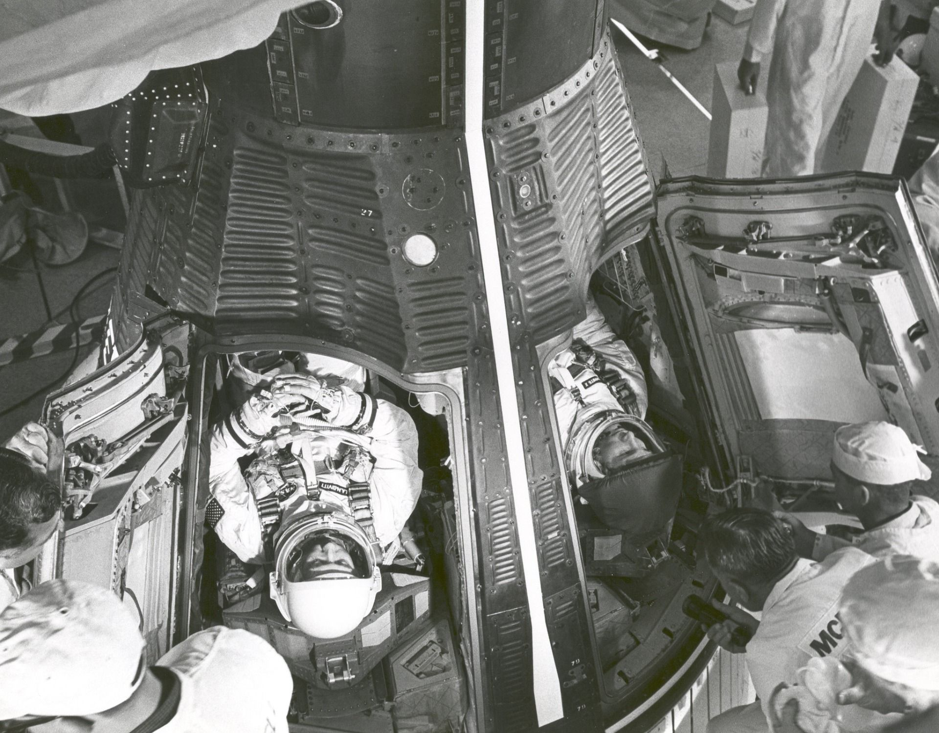 Astronauts McDivitt and White before Gemini 4 launch