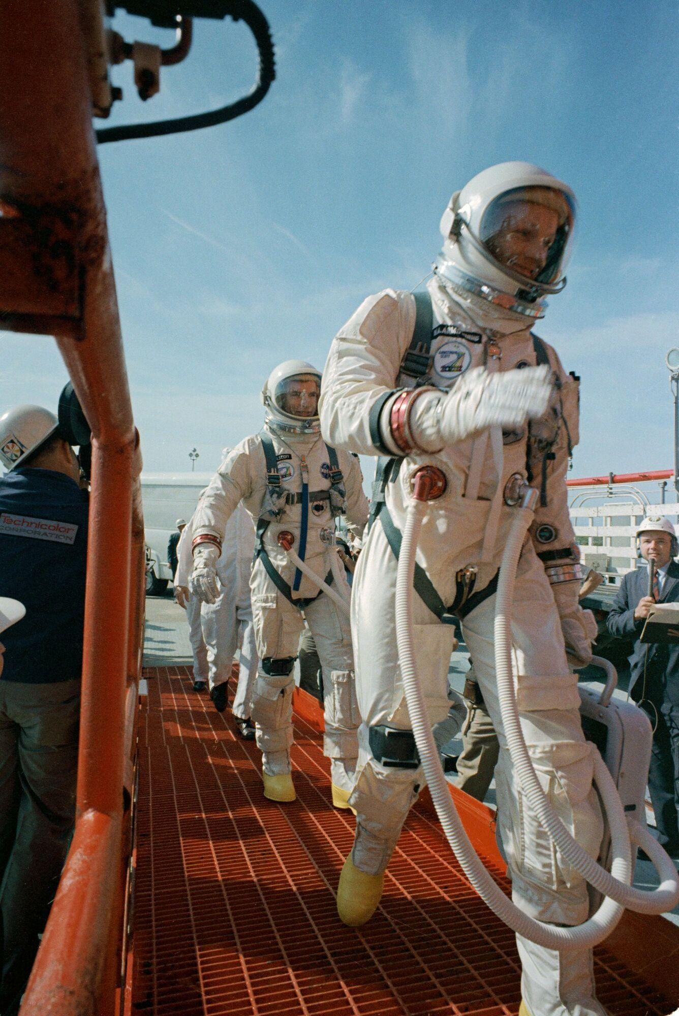 Gemini 8 crew before launch walking to Gemini 8 spacecraft