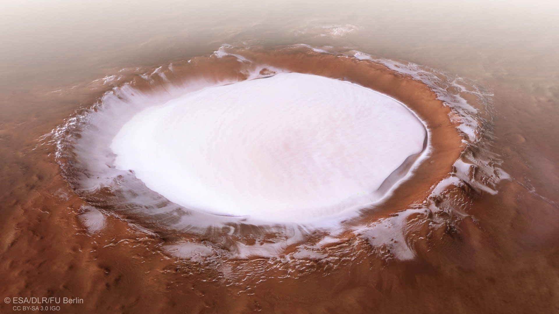mars crater filled with liquid water by esa