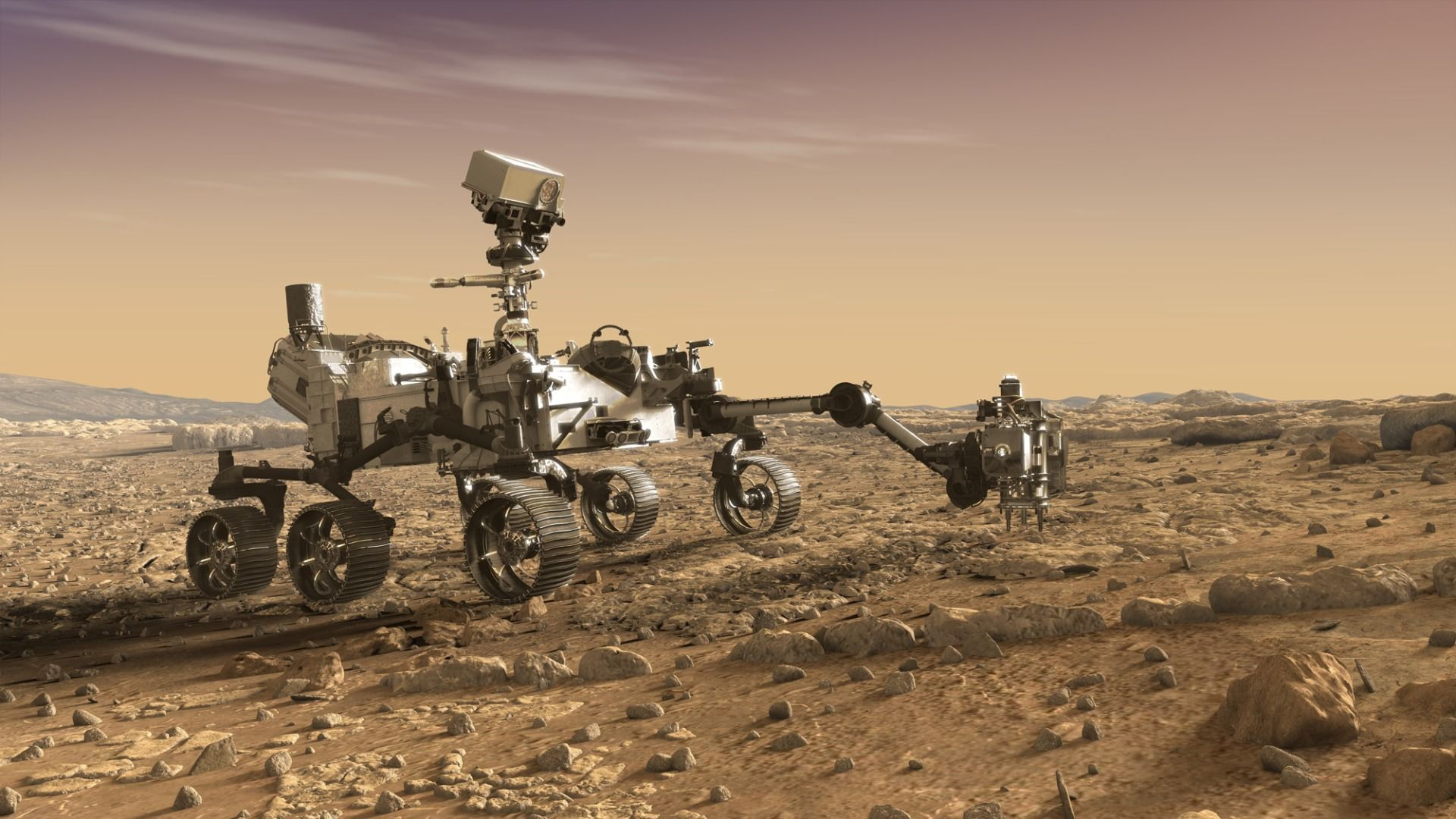 image of the mars rover on the surface of planet mars