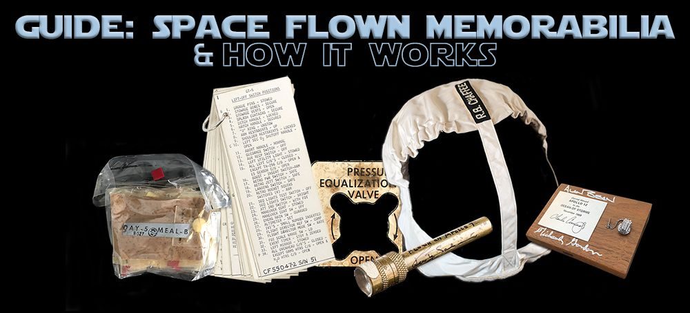 a guide to space flown memorabilia and how it works displaying various space flown artifacts