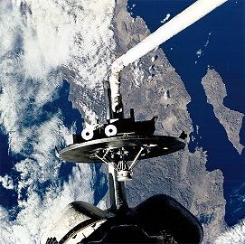 Wake Shield Facility during STS-80 over Earth